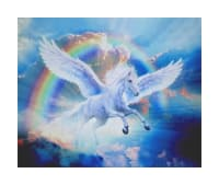 "36"" x 44"" Robert Kaufman Picture This Digital Pegasus Panel Rainbow"