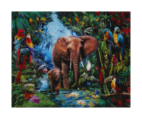 "36""x 44"" Robert Kaufman Picture This Digital Elephants Panel Jungle"