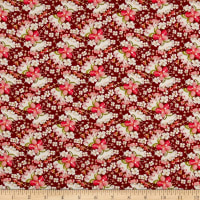 Rayon Challis Mini Floral Wine/Coral/Ivory