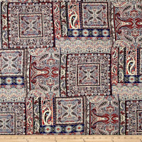 Rayon Challis Ethnic Paisley Navy/Red/Ivory