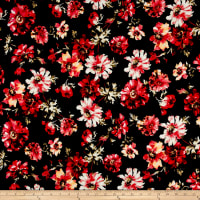 Liverpool Knit Bohemian Floral Black/Poppy/Coral