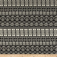 Rayon Challis Ethnic Diamonds Black/Ivory