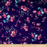 Bubble Crepe English Floral Navy/Pink/Aqua