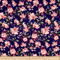 Bubble Crepe English Floral Navy/Rose/Peach