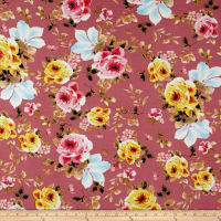 Liverpool Double Knit Shabby Floral Blush/Yellow/Blue