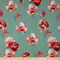 Liverpool Double Knit Watercolor Floral Mint/Blush/Red