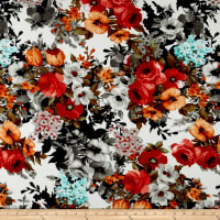 Liverpool Double Knit Shabby Floral Ivory/Coral/Cocoa