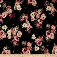 Liverpool Double Knit Denim Floral Black/Cocoa/Peony