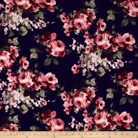 Liverpool Double Knit Romantic Floral Black/Cranberry/Mauve