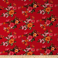 Double Brushed Printed Jersey Knit English Floral Red/Rust/Sage