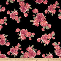 Double Brushed Jersey Knit Romantic Floral Black/Coral/Cranberry