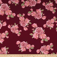 Double Brushed Jersey Knit Romantic Floral Wine/Mauve/Cranberry