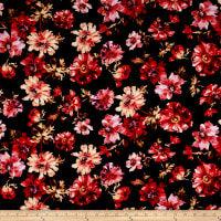 Double Brushed Jersey Knit Bohemian Floral Black/Poppy/Peach