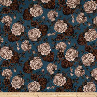 Double Brushed Jersey  Knit Shabby Floral Teal/Taupe/Mocha