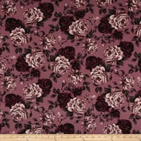 Double Brushed Jersey Knit Shabby Floral Mauve/Rose/Wine