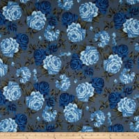 Double Brushed Jersey Knit Shabby Floral Slate/Royal/Periwinkle
