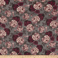 Double Brushed Jersey Knit Shabby Floral Espresso/Wine/Rose