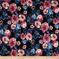 Double Brushed Jersey Knit Shabby Floral Black/Periwinkle/Mauve