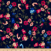Liverpool Double Knit Mini Floral Navy/Geranium/Coral
