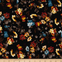 Liverpool Double Knit Mini Floral Black/Pumpkin/Mustard