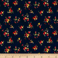 Liverpool Double Knit Denim Mini Floral Navy/Red/Yellow