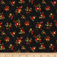 Liverpool Double Knit Denim Mini Floral Black/Red/Yellow