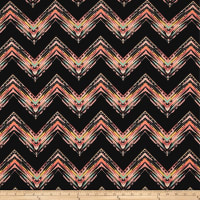 Liverpool Double Knit Chevron Black/Coral/Aqua