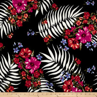 Liverpool Double Knit Tropical Floral Black/Red/Camelia