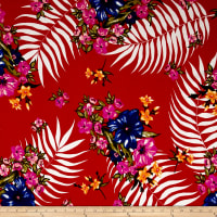 Liverpool Double Knit Tropical Floral Red/Royal/Fuschia