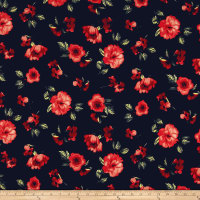Liverpool Knit Contemporary Floral Navy/Peach/Rust