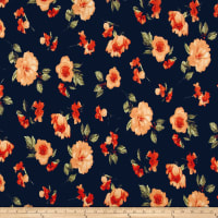 Liverpool Knit Contemporary Floral Black/Coral/Poppy