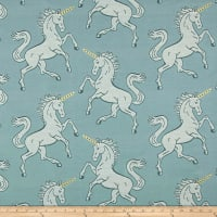 Soft Blue Unicorn Metallic Horn Jacquard