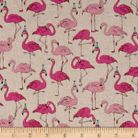 Cosmo Animals Flamingo Cotton Linen Blend Natural