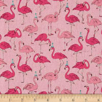 Cosmo Animals Flamingo Cotton Linen Blend Pink
