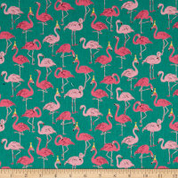 Cosmo Animals Flamingo Cotton Linen Blend Turquoise