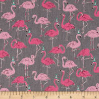Cosmo Animals Flamingo Cotton Linen Blend Grey