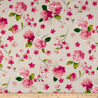 Cosmo Spring Blooms Cotton Linen Blend Natural