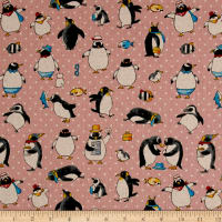 Cosmo Busy Bird Penguins Cotton Linen Blend Pink