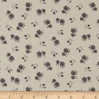 Stof Shabby Chic Linen Blend Roses & Buds  Black / Grey