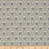 Stof Shabby Chic Linen Blend Small Flower Foulard Light Blue