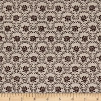 Stof Shabby Chic Linen Blend Small Flower Foulard Brown