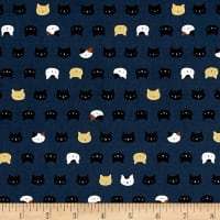Coneco Matryoka Cat Heads Metallic Navy