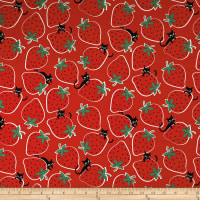 Kokka Trefle Ecole Big Strawberry Cats Oxford Red