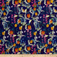 Botanical Tropics Digitally Printed Rayon Challis Indigo/Multi