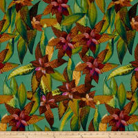 Foliage Leafette Digitally Printed Rayon Challis Green/Brown