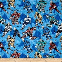 QT Fabrics Face Off Hockey Players Blue