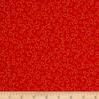 QT Fabrics Harrison Park Scroll Red