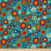 QT Fabrics House On The Hill Flowers Turquoise