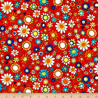 QT Fabrics House On The Hill Flowers Red