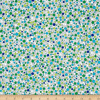 QT Fabrics House On The Hill Dots White/Aqua